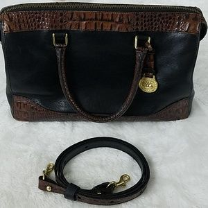 Brahmin Black and Brown Italian Leather Bag